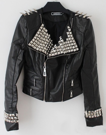 Black Color Genuine Leather Jacket Silver Spiked Studded Brando Style For Women