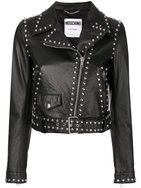 Hand Made Women Black Genuine Real Leather Jacket Silver Studded Design On Back