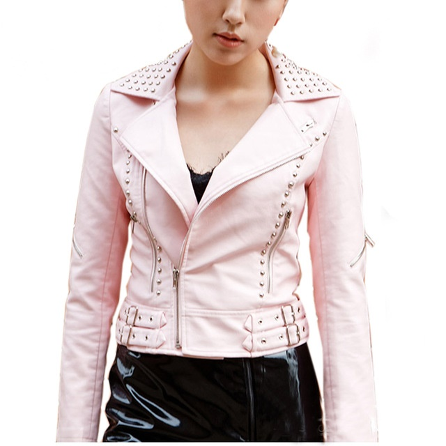 Pink Color Motor Cycle Genuine Leather Jacket Silver Studs Punk Style For Women
