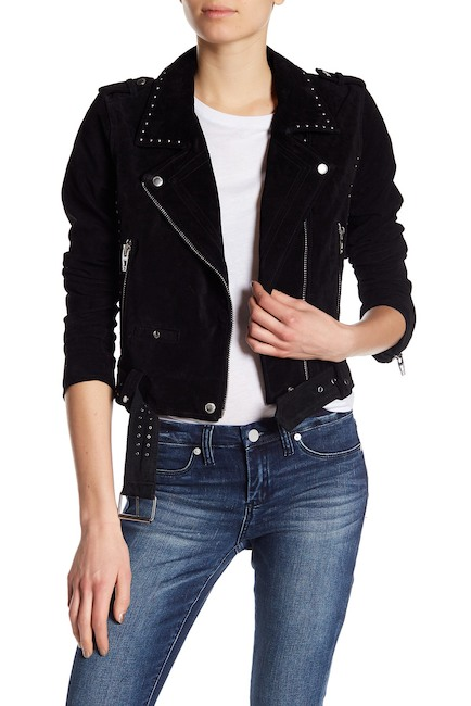 Black Real Genuine Suede Leather Jacket Featuring Front Zipper and Silver Studs