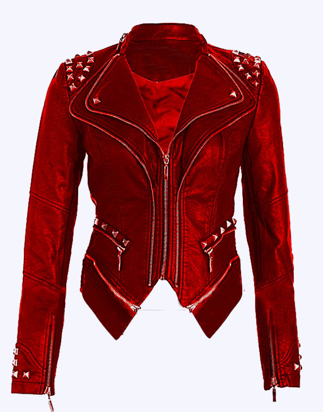 Women Red Color Stylish Genuine Leather Jacket Silver Studded Hand Stitched