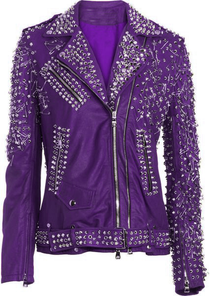 Customized Women Purple Genuine Elegant Leather Jacket Heavy Silver Studded