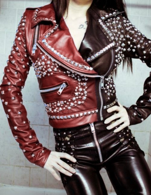 Two Tone Brown Red Genuine Biker Leather Jacket Silver Studded For Women