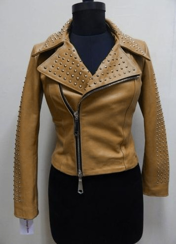 Brown Color Women Genuine Classical Leather Jacket Golden Studs Front Zipper