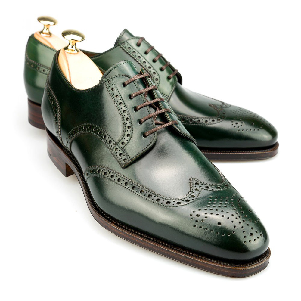Green Color Derby Style Wing Tip Brogues Toe Real Leather Lace up Men Shoes