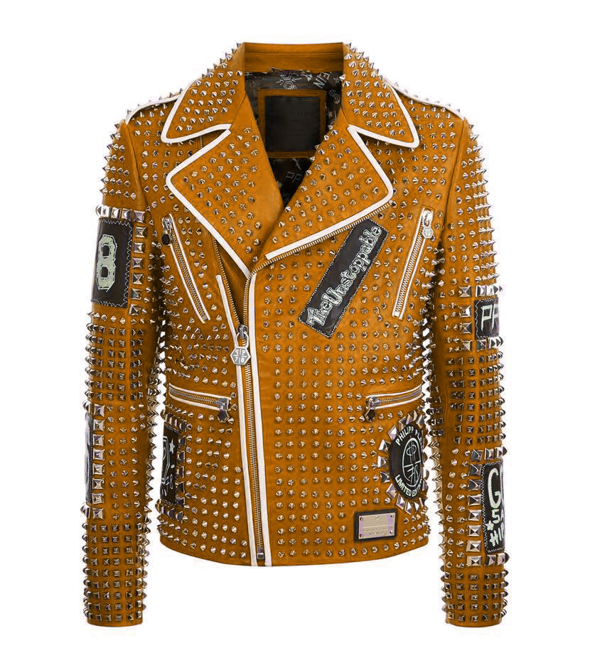 Brown Color Genuine Real Leather Jacket Full Silver Studded Front Zipper & Zippered Sleeves