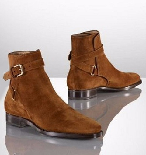 Rounded Single Buckle Strap Brown Monk Real Suede Leather Derby Toe High Ankle Boots