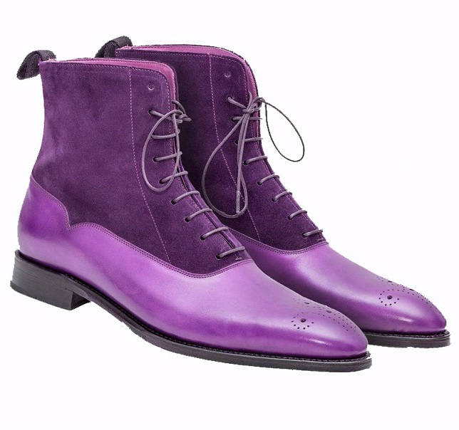 Purple Suede Two Tone Genuine Leather High Ankle Derby Toe Handmade Lace Up Boots