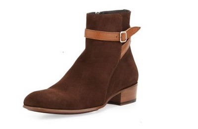 Jodhpurs Brown Real Suede Leather Rounded Buckle Strap High Ankle Zipper Boots