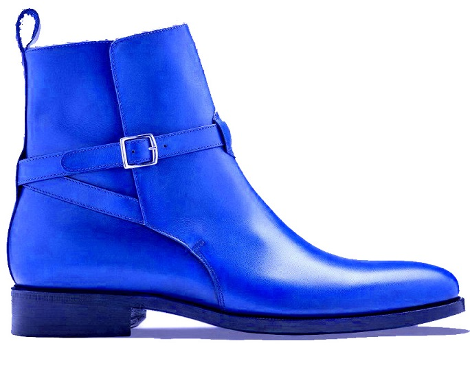 Jodhpurs Blue Men High Ankle Rounded Buckle Strap Derby Toe Real Leather Handmade Boots