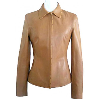 Women Brown Genuine Cowhide Leather Collar Front Zipper Slim Fit Fashion Jacket