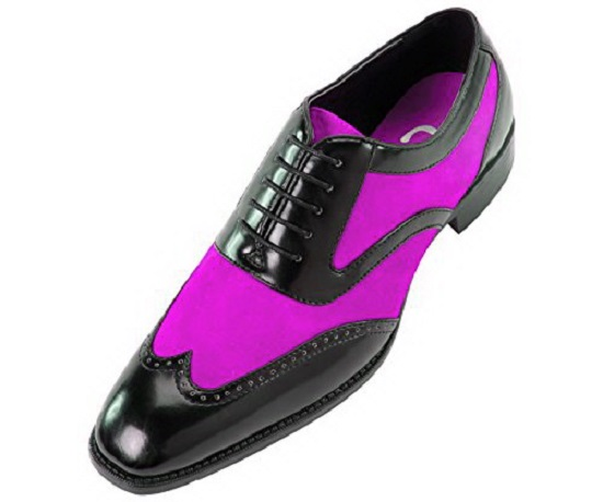 Two Tone Purple Suede Black Derby Wingtip Leather handmade Men's Formal Dress Shoes
