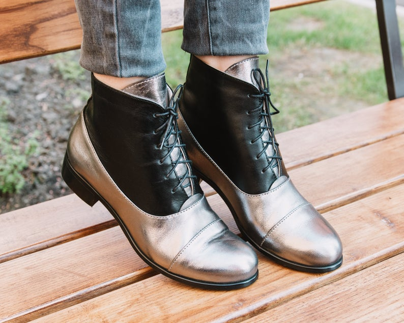 Two Tone Women Silver Black Derby Cap Toe Real Leather Magnificent Dress Boots