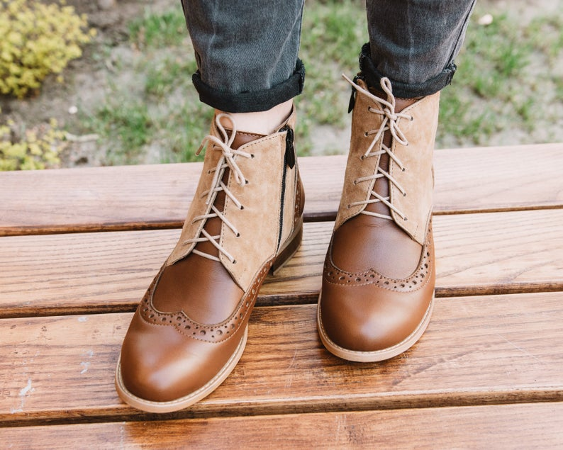 Two Tone Brown Derby Toe Lace Up Vintage Leather Handmade Women Ankles Dress Boot