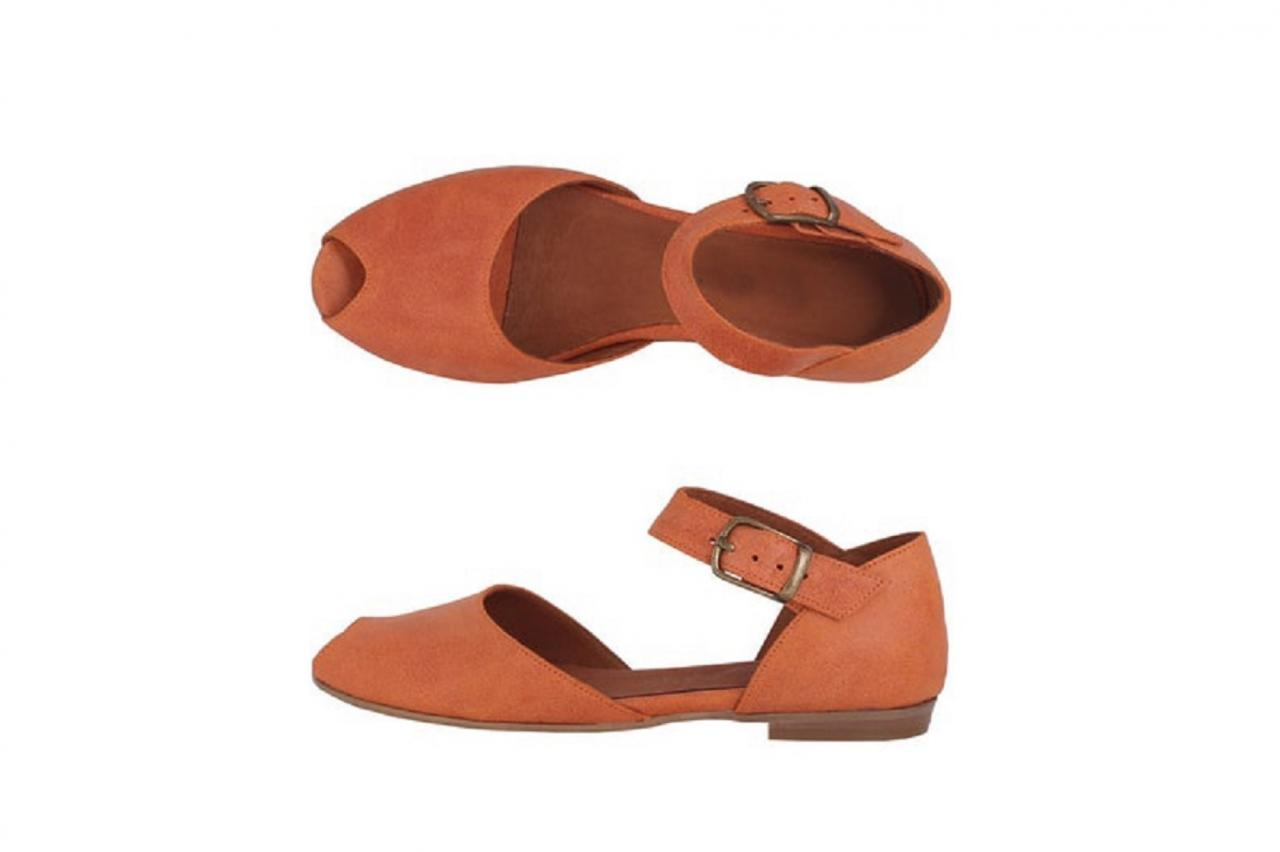 Made To Order New Orange Peep Toe Slingbacks Handcrafted Leather Women Dress Flat Sandals