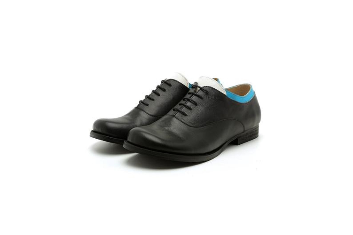 Made To Order Three Tone Oxford Black Lace Up Leather Handmade Women Formal Shoes
