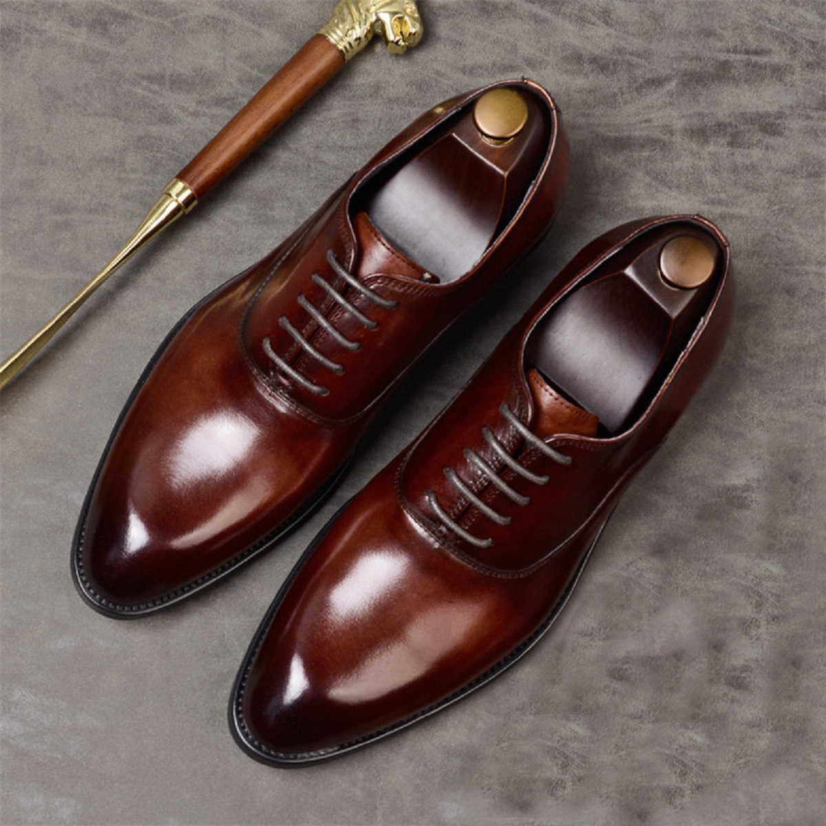 Friendly Pairs Syrup Brown Essential Precise Leather Men Oxford Wedding Shoes