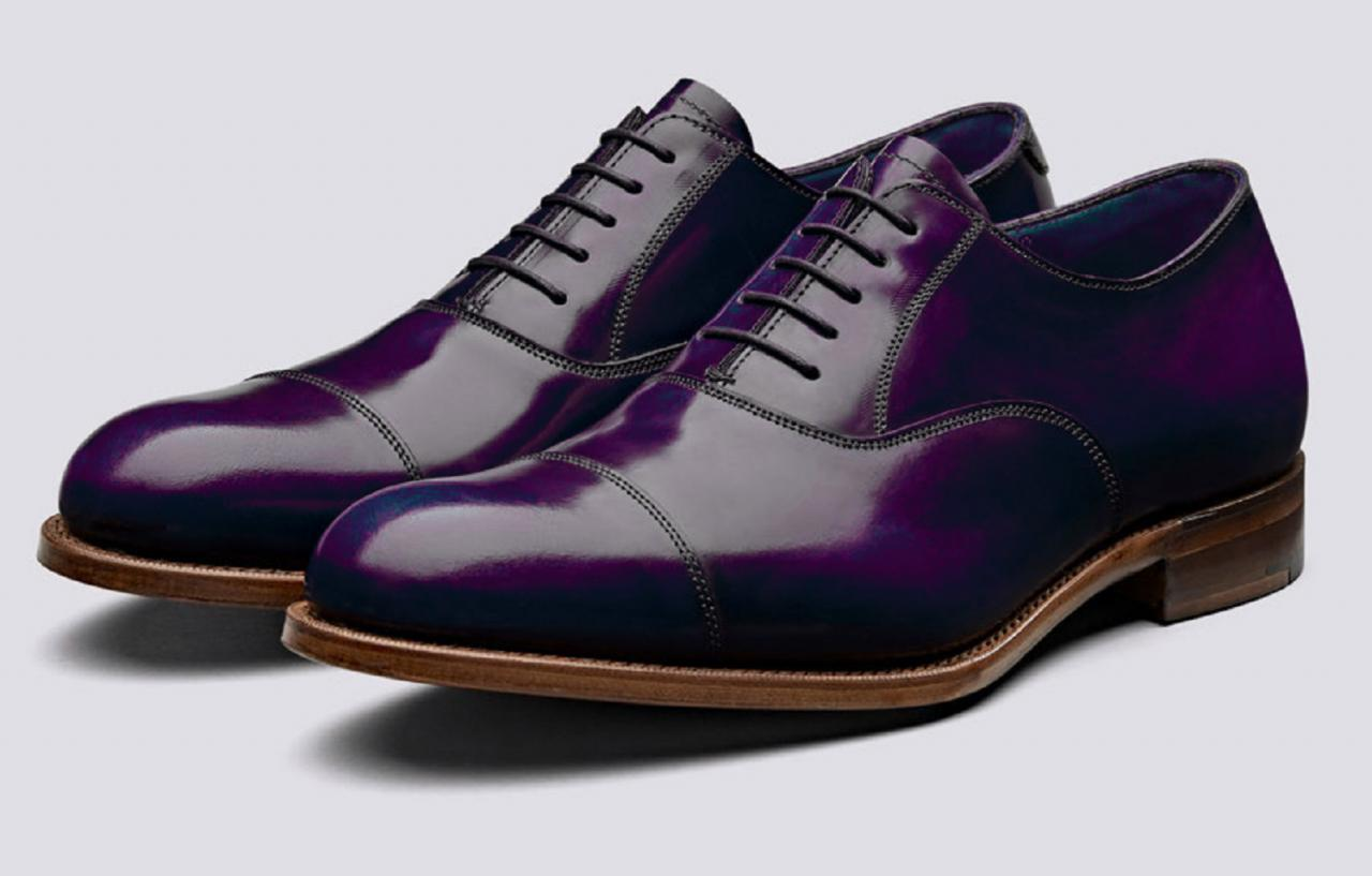 Superb Design Royal Purple Nice Design Pure Leather Men Balmoral Formal Party Shoes