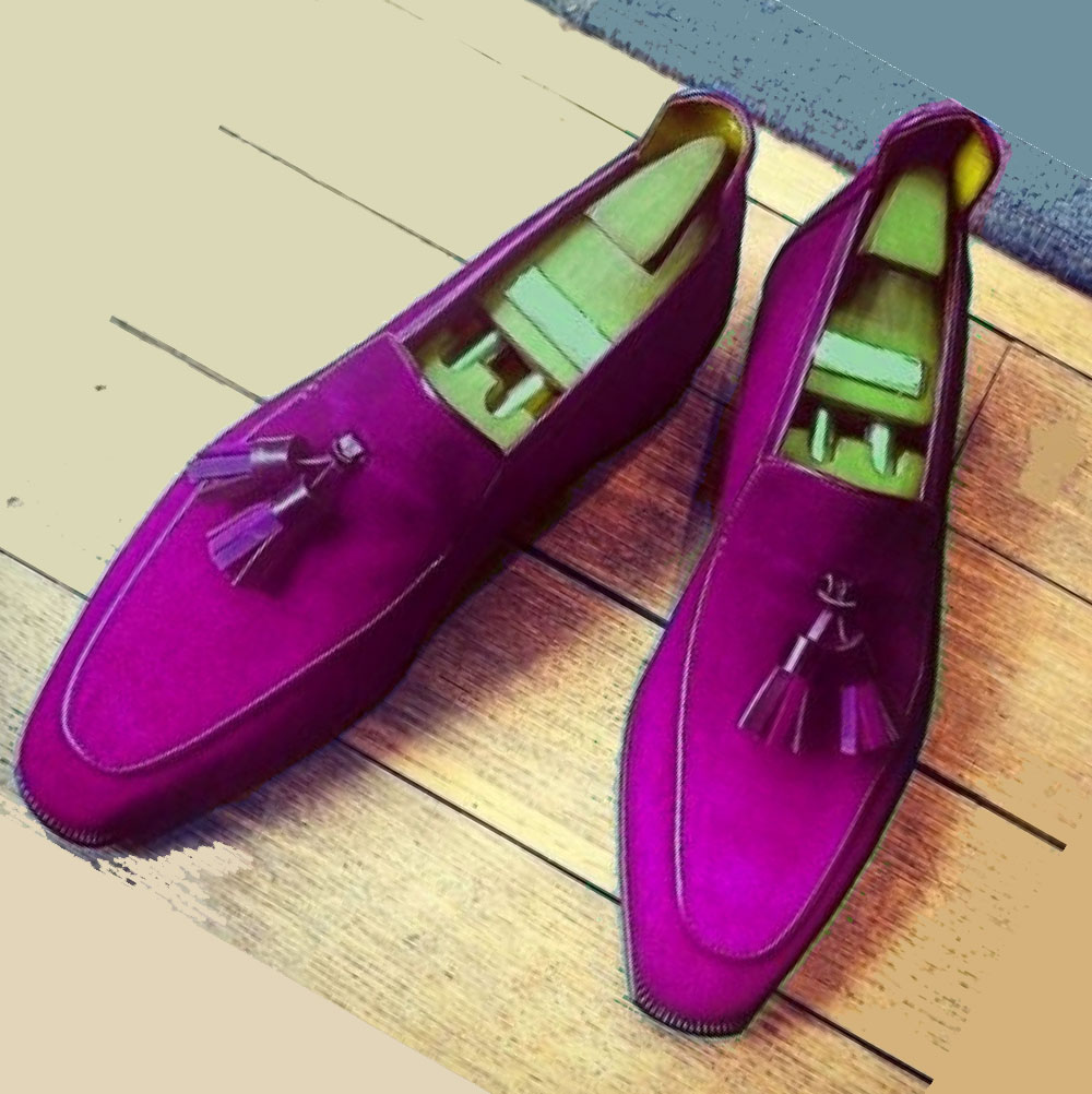 Party Wears In Violet Color Moc Toe Pure Suede LEATHER Men Tassel LOAFER Shoes