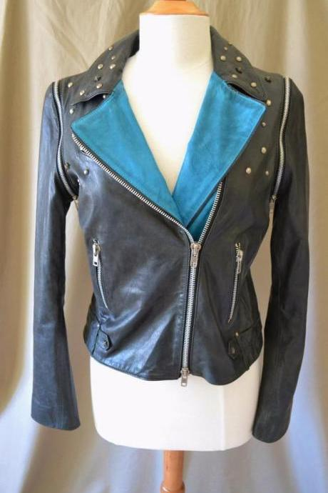 Customized Handmade Women's Black Leather Jacket With Star Studs