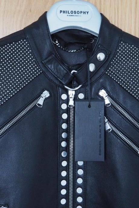 Customized Handcrafted Fashion Women Studded Black Leather Jacket