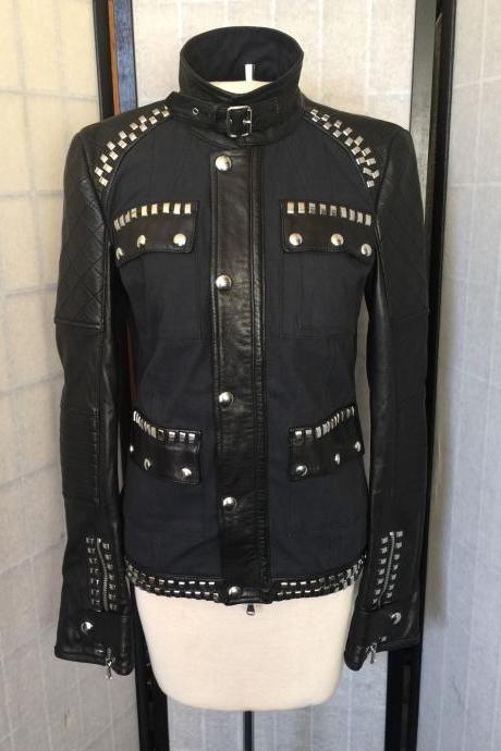 Customized Handmade Women Diesel Studded Black Genuine Leather Jacket
