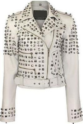 Customized Handmade Item For Women's Silver Studded White Leather Jacket