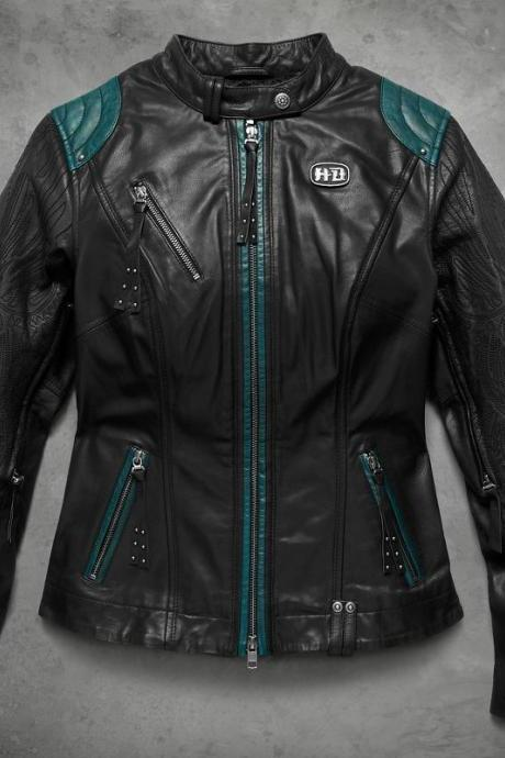 New Item For Women Harley Davidson Studded Embroidery Magnificent Leather Jacket