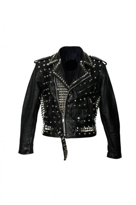 Handcrafted Women's Black Studded Cowhide Leather Jacket