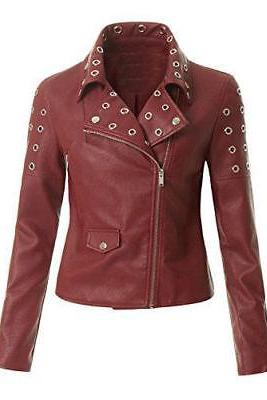 Classic Style For Women Studded Motorbike Genuine Leather Jacket