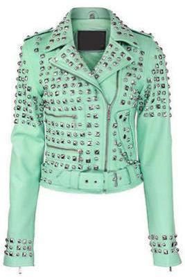 Customized Handmade Women Silver Studs Light Green Color Leather Jacket