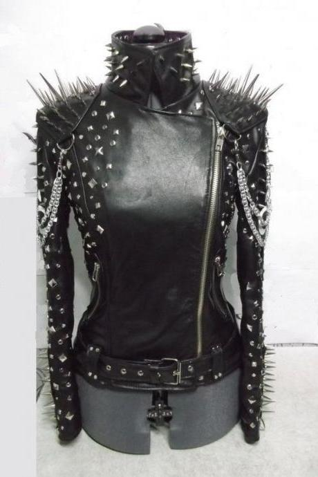 Handcrafted New Womens Black Color Silver Spiked Studded 100% Genuine Leather Jacket