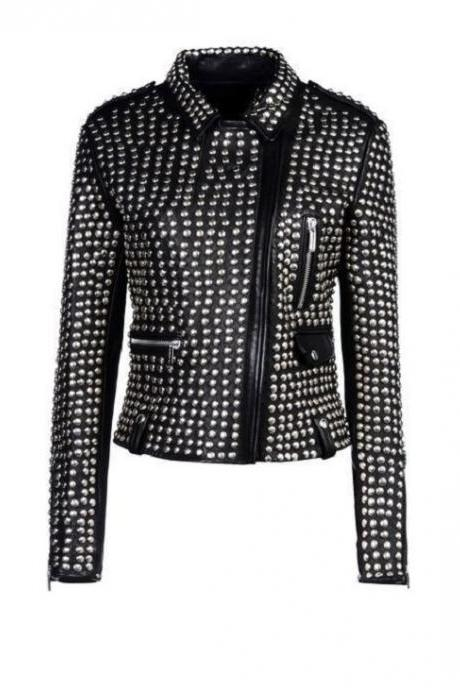 Handmade Women Studded Black Color Genuine Leather Jacket