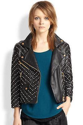 New Item For Women's Black Studded Genuine Leather Jacket