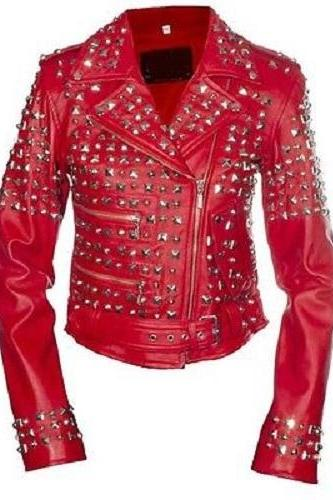 Handcrafted Item For Women Studded Stylish Red Color Leather Jacket