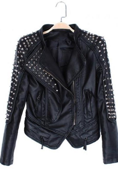 Handmade Black Color Women's Silver Studded Premium Leather Jacket