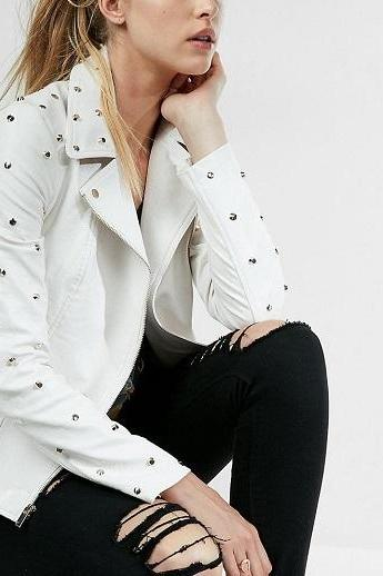 Custom Made Women's White Color Studded Leather Jacket