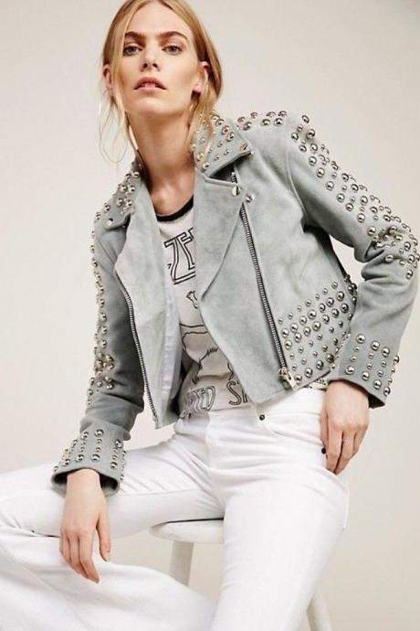 Customised Handmade Womens Studded Premium Leather Jacket
