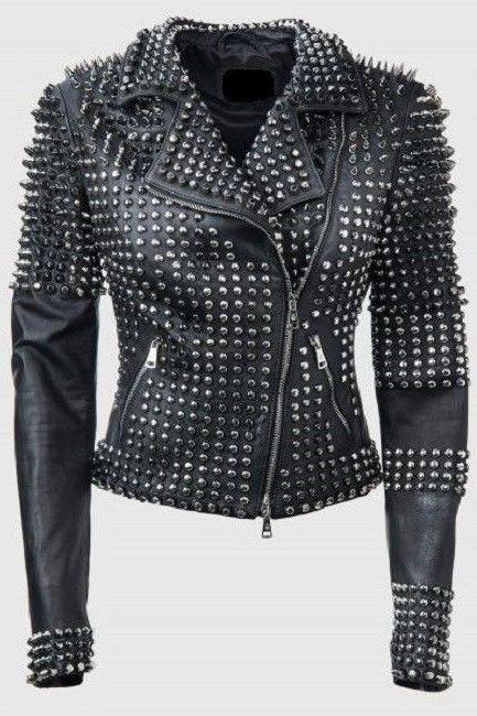 New Style For Woman Handmade Black Full Silver Studded Biker Leather Jacket