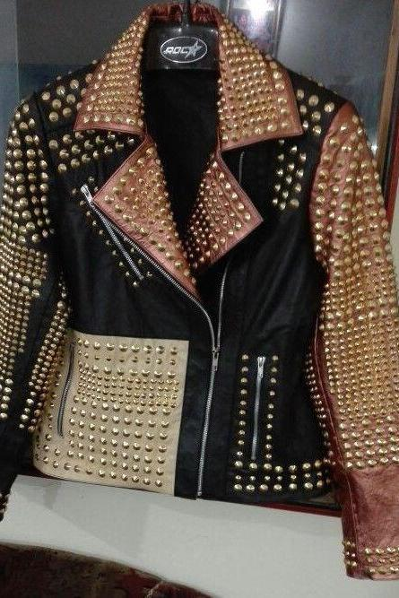 Women's Multi Color Philipp Plein Golden Studded Leather Jacket