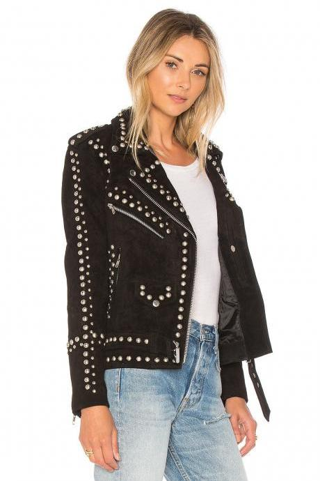 Women's Western Style Brown Suede Studded Genuine Leather Jacket