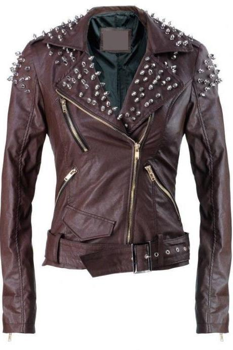 Handmade New Style Womens Brando Studded Vintage Leather Jacket