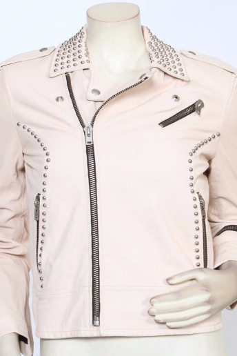 Handmade Women's Pink Genuine Studded Lambskin Leather Jacket