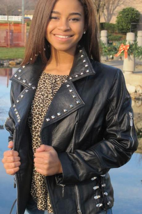 Handmade Women's Silver Studs Black Color Genuine Leather Jacket