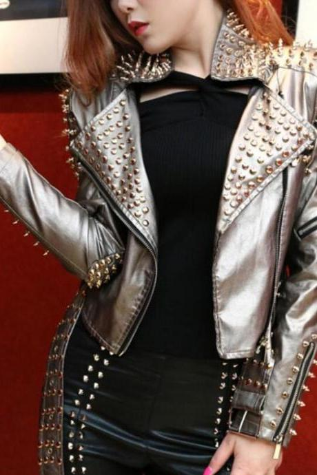 Handmade Women's Studs Spike Punk Metal Zip Real Leather Jacket