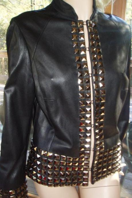 Women's Black Color Classic Style Gold Studded Leather Jacket