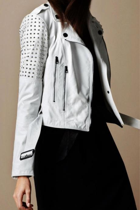 Handmade Women Studded White Color Genuine Leather Jacket