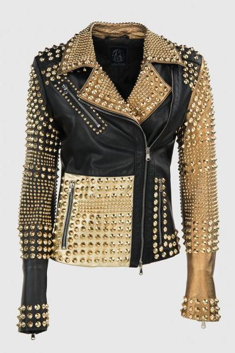 Custom Made Women's Philipp Plein Multicolor Full Golden Studded Leather Jacket