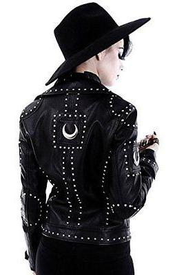Customized Handcrafted Women Studded Black Color Genuine Leather Jacket