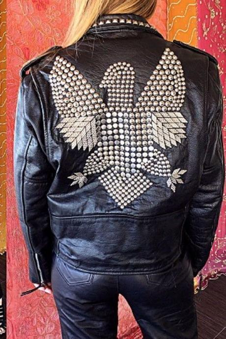 Womens New Style Eagle Vintage Silver Studded Black Leather Jacket